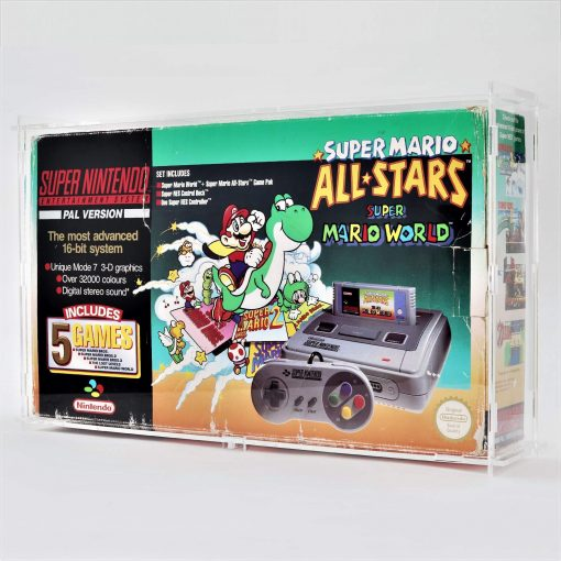 Clear Acrylic Super Nintendo Entertainment System (SNES) Boxed Console Display Case