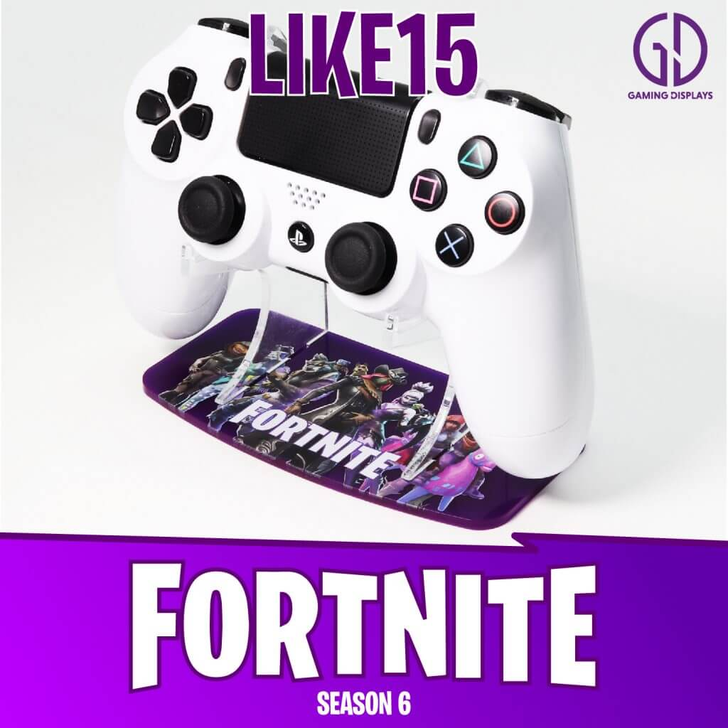 Fortnite Season 6 PS4 Printed Controller Stand in purple with characters and game title