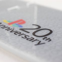 Close up of the printed controller stand designed to complement the 20th Anniversary PlayStation 4 Dualshock controller