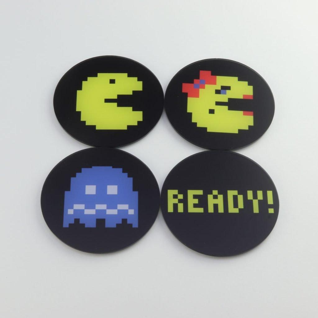 Pac-Man themed printed acrylic gaming coasters