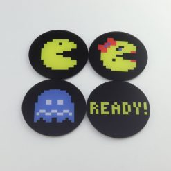 Pac-Man Character themed printed acrylic gaming accessory coasters
