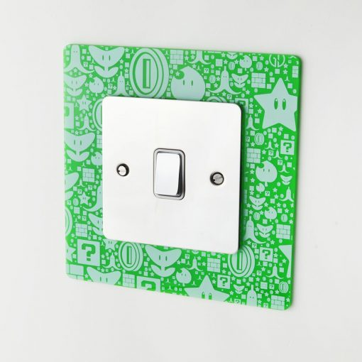 Super Mario Bros pattern design acrylic light switch surround