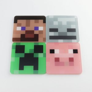 Minecraft themed printed coasters, 4 character designs
