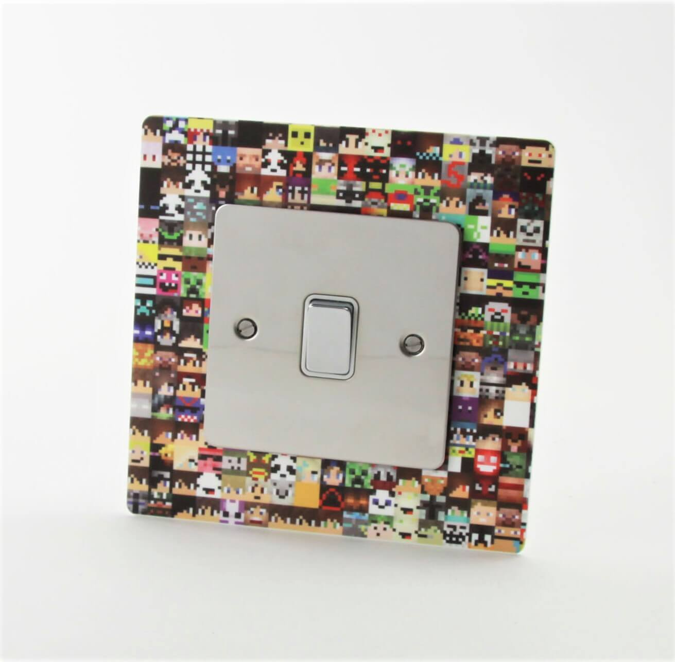 Minecraft themed acrylic light switch surround