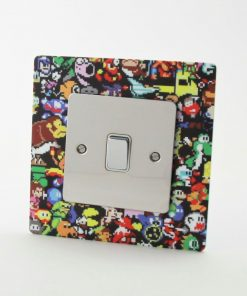 8 Bit Retro Gaming Printed Acrylic Light Switch Surround
