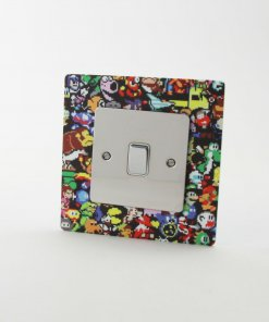 Retro Gaming themed printed acrylic socket surround with arcade and console characters