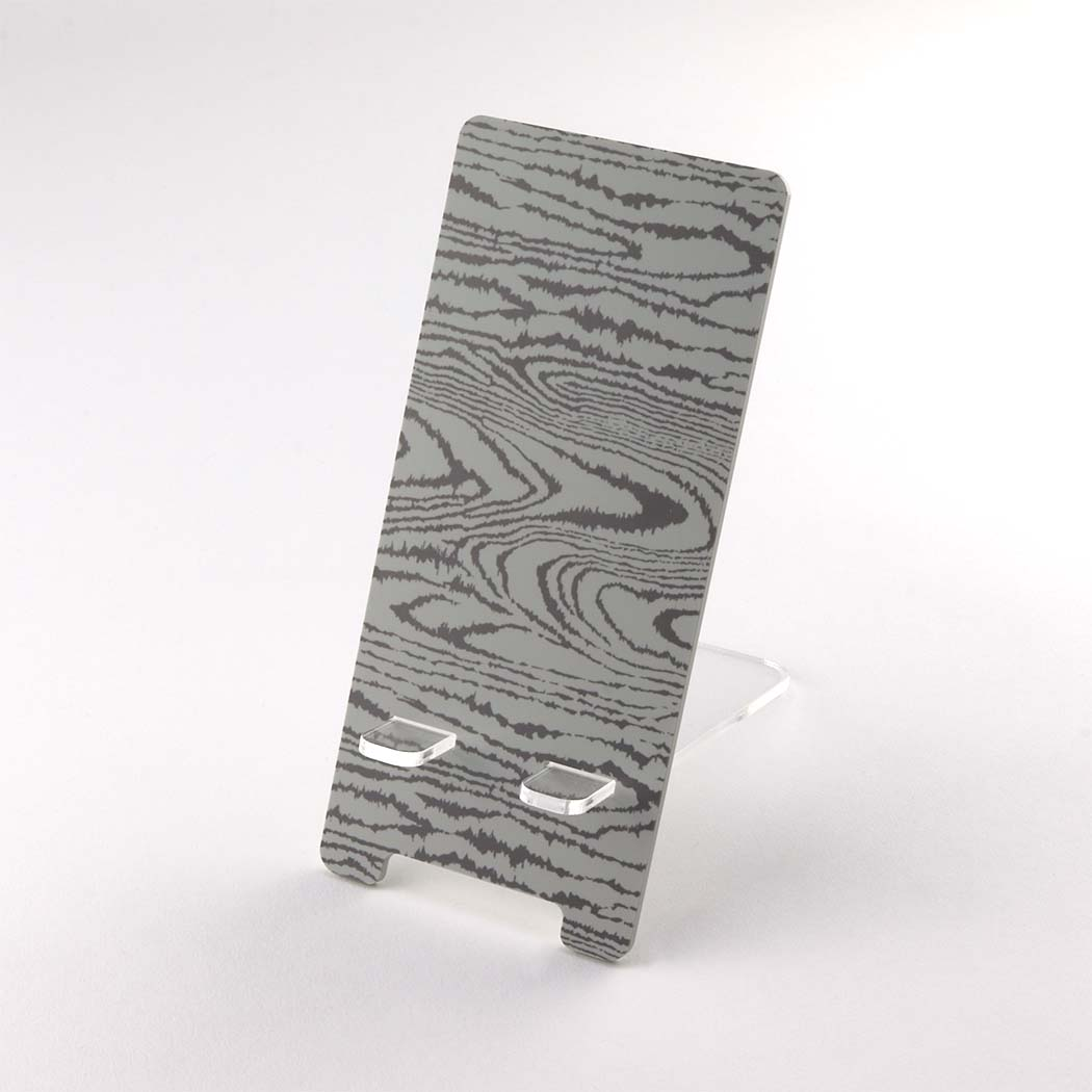 Grey Wood Effect Printed Acrylic Mobile Phone Display Stand