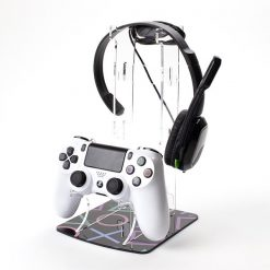 PlayStation Buttons Dual Controller and Headset Printed Acrylic Display Stand